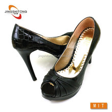 Black patent leather high heels shoes sexy elegant