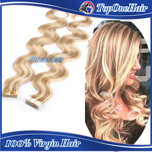 Wholesale PU skin weft top quality tape in human hair extension remy double sided tape hair extension