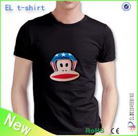 custom el t shirt/sound sensor light for t shirt/el t shirt lighting