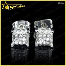 rhodium plating brass or silver mciro pave cubic zirconia mini square kite stud earrings lot