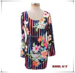 Women Short Sexy Colorful Dress O-Neck Flower Print Sheath Full Sleeve Dress Party Stage Dress