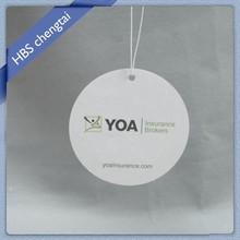 Cotton paper customized shape air freshener without any scent with printing logo