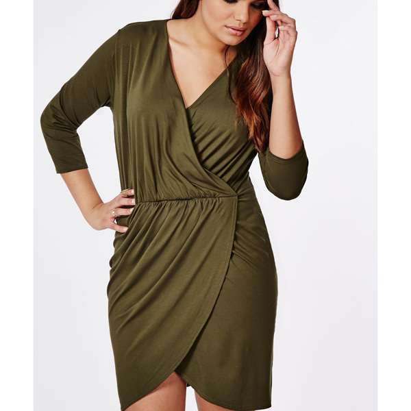 Wrap Dress Khaki For Plump Womenknitted Lightweight Wholesale Plus