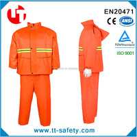 orange high visibility waterproof raincoat with reflective strips -pants-hoods
