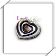 murano heart glass pendant with gold sand/silver foil