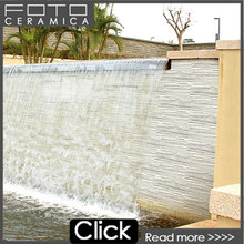 Beautiful white nature culture stone exterior wall waterfall slate tile