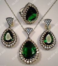 925 silver hurrem roxelana sultan set emerald color turkish ottoman jewellery suleyman