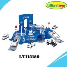 1:64 Die casting police set model alloy parking lot toys