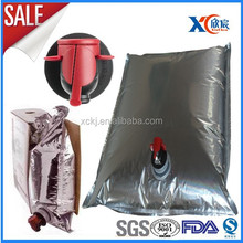 aluminum foil wine bag, juice, water, oil bag in box with tap valve