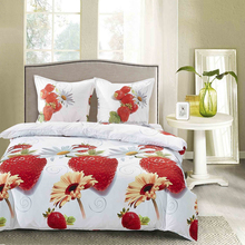 2015 TOP 10 Best sale ! Luxury high quality wholesale 3d microfiber strawberry designs bedding set