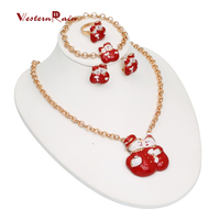 New Coming Snow Christmas Gift Double Snowman Happy Red Lovely Jewelry Set for Laides&Women,Gold Plated 18K Xmas Jewellery Gift