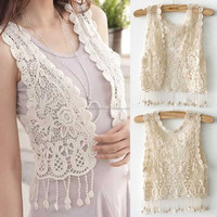 Ladies Summer Fashion Casual Crochet formal waistcoat for women