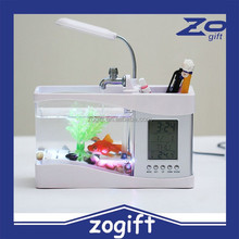 ZOGIFT Mini Fish Tank Usb Aquarium With Led Lamp Clock Business Gift Pen Holder