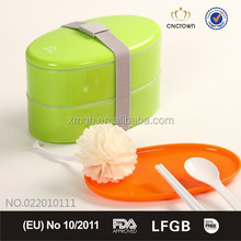 Wholesale Promotion Lunch Bento Box with belt and cutlery, two-layers 800ml BPA Free, Food Grade Material from China