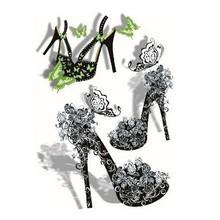 High heel shoe pattern waterproof tattoo sticker 3d tattoo sticker elegant body jewelry