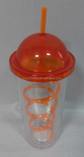 20 oz high quality food grade color plastic ice cream cup with dome lid and straw