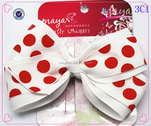 Big White with Red Dots hair bows(approved by BV)
