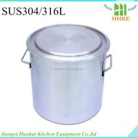 20Litre stainless steel bucket open head metal tin with handle steel barrel