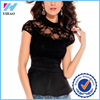 Yihao Antique Lace Peplum Top Fashion Lady Mock Neck Sexy Clubwear crop top for mature women