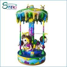 3 seats Commercial Attraction electric musical sugar bee merry go round mini carouse merry go round kids small carousel for sale