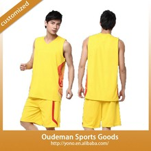 New factory price fashion mens china yellow basketball jersey design YNBW-03 jersey shirts design for basketball