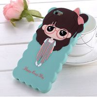 3D Silicone Soft Xiaoxi Cartoon Cute Little Girl Case Cover For Apple iPhone 6