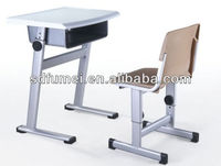 Primary school adjusted plastic children desk and chair