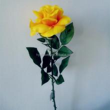 single stem silk roses silk yellow rose artificial flower making