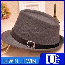 best quality grey man and woman wool felt fedora hat