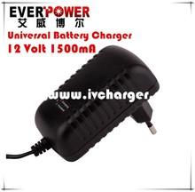 UK/US/EUR/AU wall mount Universal 12V 1.5Amp SLA battery float charger model: EP-P2012-A12