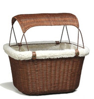 Wicker Dog Bicycle Basket with Hood
