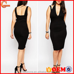 Women Plunge Halter Neck Bodycon Fit Plus Size Dress Wholesale