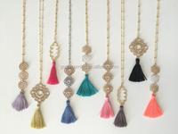 Gold Alloy Flower Pendant Colorful Long Silk Tassel Necklace