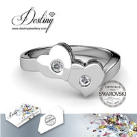 Destiny Jewellery Double Love Ring - wholesale jewelry 18K white gold plated ring Crystals from swarovski - DR0182