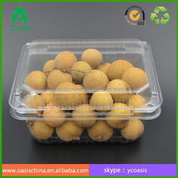 Transparent PET plastic food and fruit clamshell packaging boxes