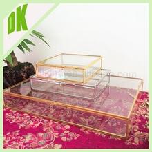 Transparent plain glass case as decorate jar money box, custom geometric glass as decorate jar money box
