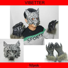 MK-222 PU wolf mask and latex wolf gloves one set HOT SALE horrible wolf latex mask for halloween +With fur gloves