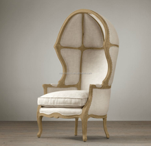 Oak Wood Frame and Linen Fabric Egg Chair