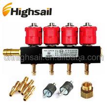 De calidad superior 12 V 3Ohm 4Cyl LPG / gnc rampa de inyección del inyector del carril
