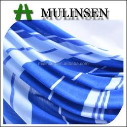 Mulinsen textile stripe patten soft poly spun fabric, blue and white fabric