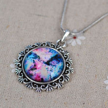 Hot New Men Women Fashion Moon And Sun Pendant Necklace Galactic Glass Cabochon Pendant Crescent Moon Necklace W Gift Box