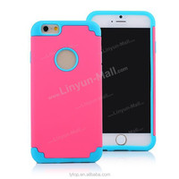 2015 hot selling 2 in 1 back hard case for iPhone 6, for iphone 6 PC + Silicone case cover