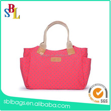Spanish style pink canvas beach bag, tote beach bag, rope handle beach bag