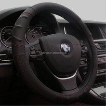 2015 new hot sell anti skid leather sewed 38cm diameter car steering wheel cover