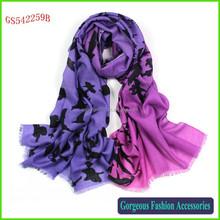 Very fashion birds printed scarf wool