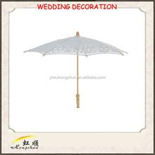 Venta al por mayor india del cordón de la decoración de la boda sombrillas de doble paraguas con blanco