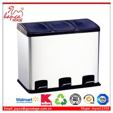 Jiangmen 36L recycled Foot Pedal Structure And Eco-Friendly Feature 3 Compartment Waste Bin Trash Bin Garbage bin