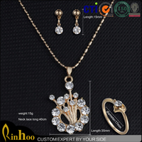 new delicate style design bride sets long chain diamond pendant necklace , silver rings jewelry sets for sale