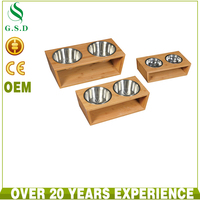 wholesale luxury wooden pet feeder with 2 stainless steel dog bowls , dog bowl stand