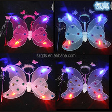 Wholesale cheap double layer 4lights fairy butterfly wings Halloween costume butterfly wings